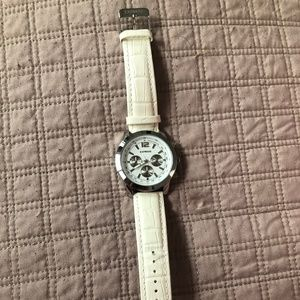 Express Leather White Men's Watch